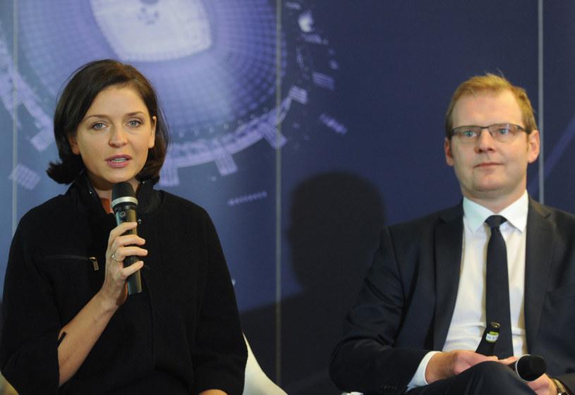 Minister sportu i turystki Joanna Mucha i prezes spółki PL.2012 Marcin Herra /Bartłomiej Zborowski /PAP