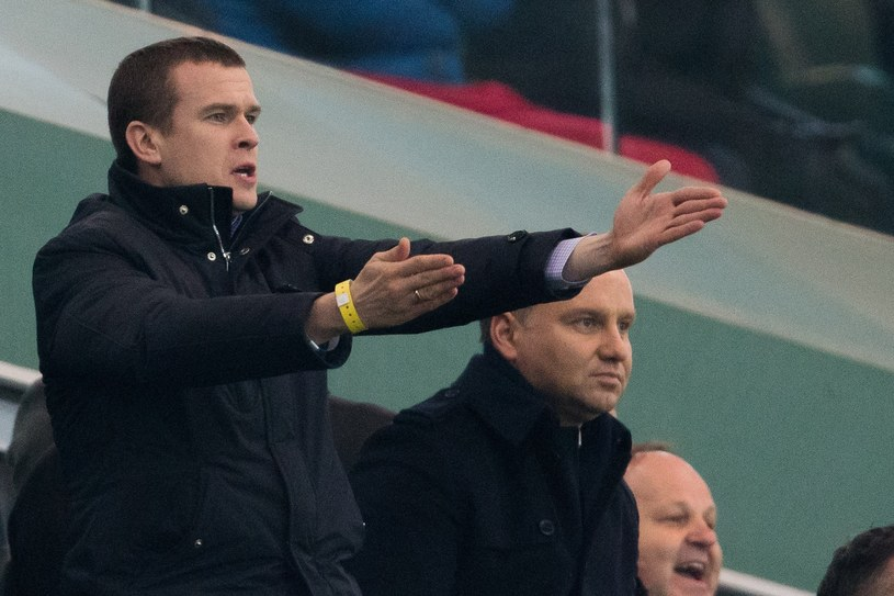 Minister sportu Witold Bańka, dalej prezydent Andrzej Duda na meczu Legia - Sporting /Andrzej Iwańczuk /Reporter