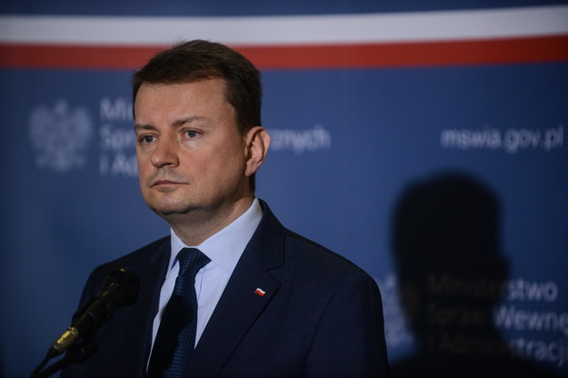 Minister spraw wewnętrznych i administracji Mariusz Błaszczak, podczas konferencji prasowej nt. bezpieczeństwa w Polsce /Jakub Kamiński   /PAP