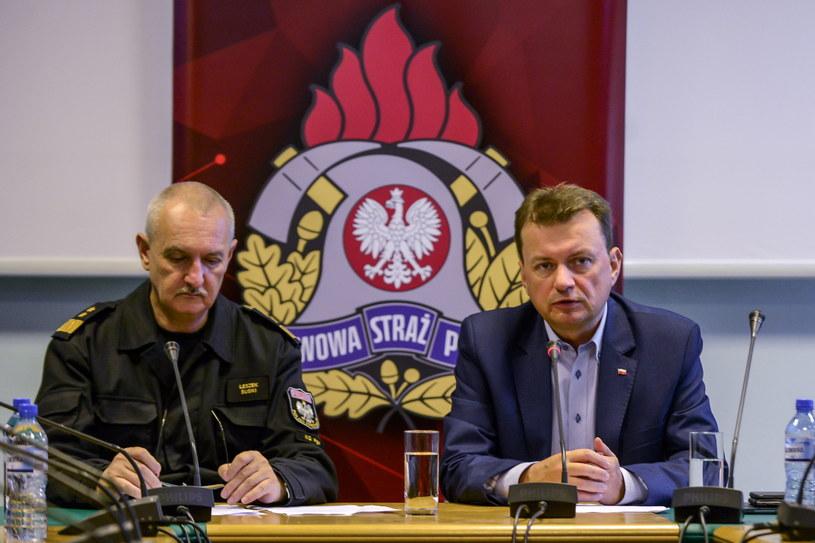 Minister spraw wewnętrznych i administracji Mariusz Błaszczak i komendant główny Państwowej Straży Pożarnej generał Leszek Suski /Jakub Kamiński   /PAP