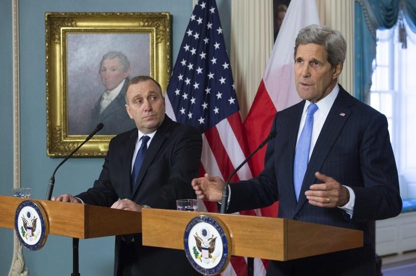 Minister spraw zagranicznych Grzegorz Schetyna i sekretarz stanu USA John Kerry /PAP/EPA
