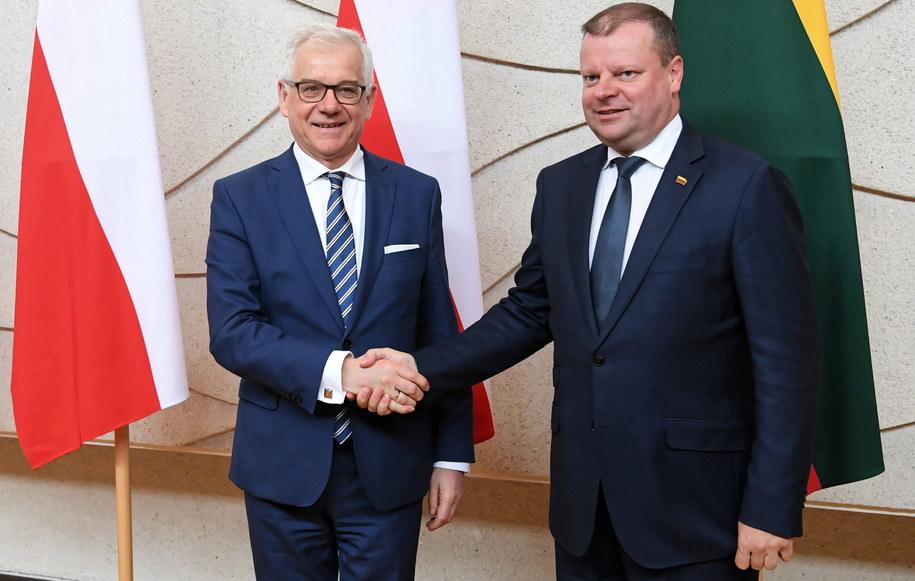 Minister spraw zagranicznych Jacek Czaputowicz i premier Litwy Saulius Skvernelis /Piotr Nowak /PAP