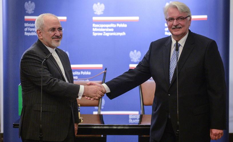 Minister spraw zagranicznych Polski Witold Waszczykowski i szef dyplomacji Iranu Mohammad Dżawad Zarif /Jakub Kamiński   /PAP