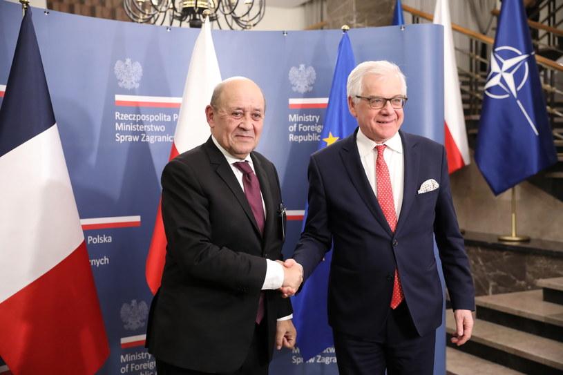 Minister spraw zagranicznych RP Jacek Czaputowicz oraz szef francuskiej dyplomacji Jean-Yves Le Drian / Leszek Szymański    /PAP