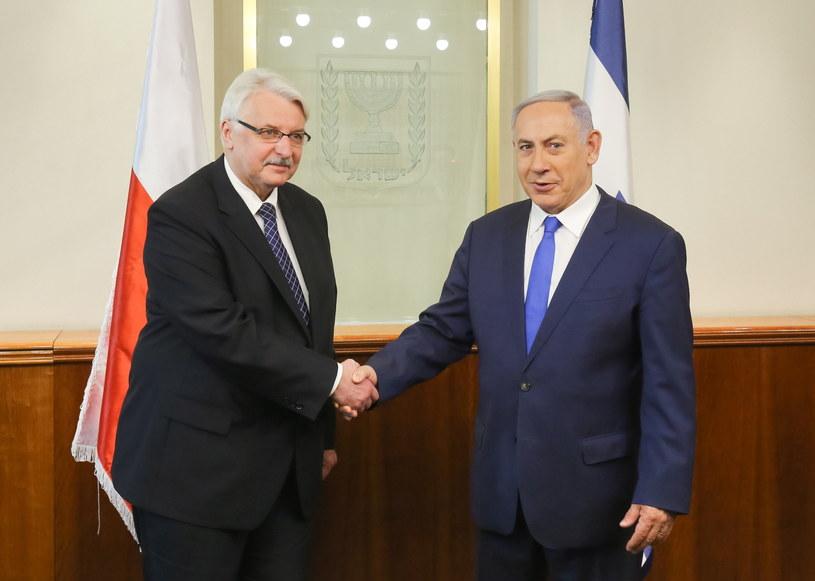 Minister spraw zagranicznych Witold Waszczykowski i premier Izraela Benjamin Netanjahu /Paweł Supernak /PAP