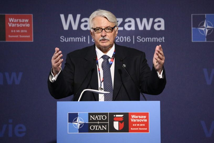 Minister spraw zagranicznych Witold Waszczykowski podczas konferencji prasowej na stadionie PGE Narodowy /Leszek Szymański /PAP