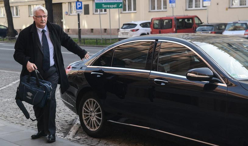 Minister spraw zagranicznych Witold Waszczykowski w drodze na spotkanie z sekretarzem generalnym Rady Europy Thorbjoernem Jaglandem w Warszawie /Jakub Kamiński   /PAP