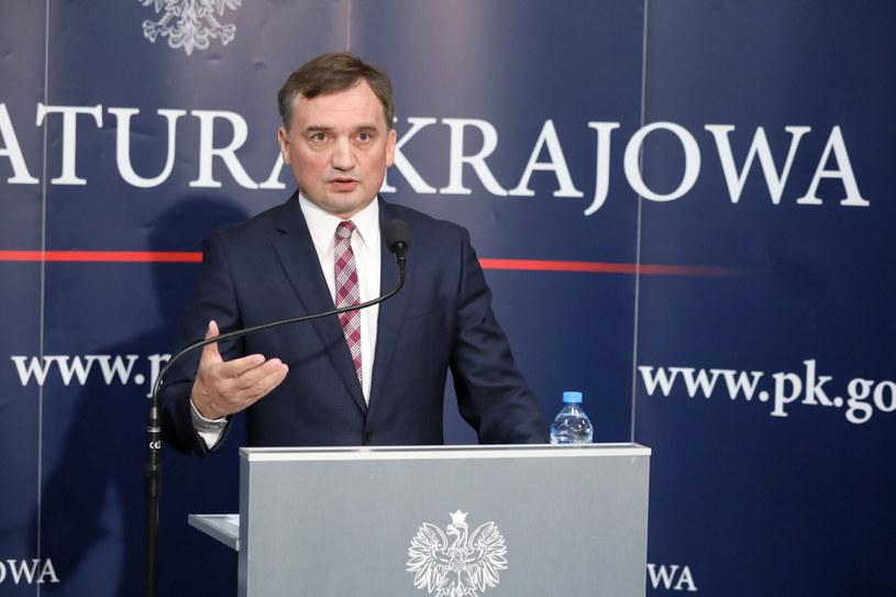 Minister sprawiedliwości Zbigniew Ziobro podczas konferencji prasowej w siedzibie Prokuratury Krajowej / Tomasz Gzell    /PAP