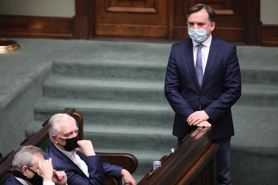 Minister sprawiedliwości Zbigniew Ziobro w Sejmie /Wojciech Olkuśnik /PAP