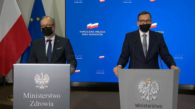 Minister zdrowia Adam Niedzielski i premier Mateusz Morawiecki /Polsat News