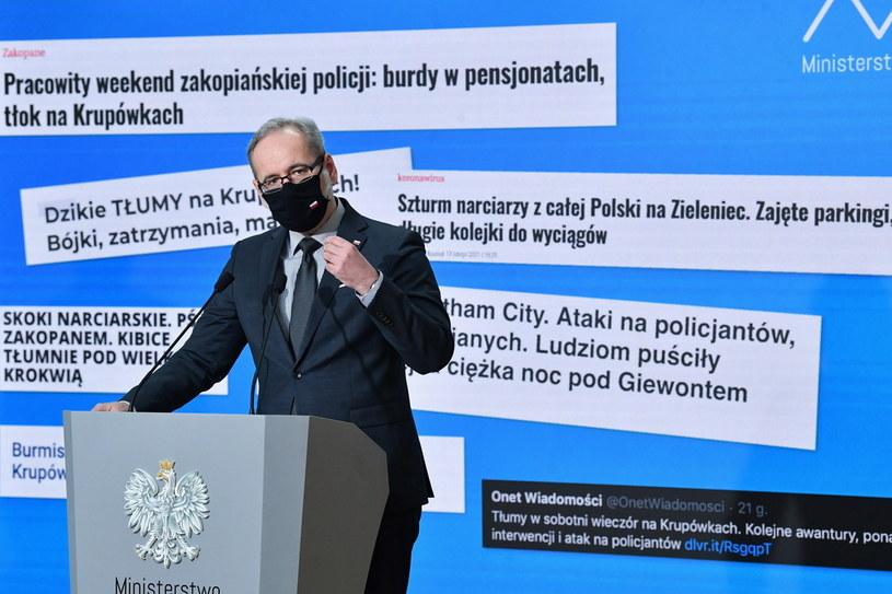 Minister zdrowia Adam Niedzielski na konferencji prasowej /Radek  Pietruszka /PAP