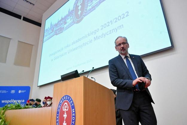 Minister zdrowia Adam Niedzielski podczas inauguracji nowego roku akademickiego na Gdańskim Uniwersytecie Medycznym /Adam Warżawa /PAP/EPA