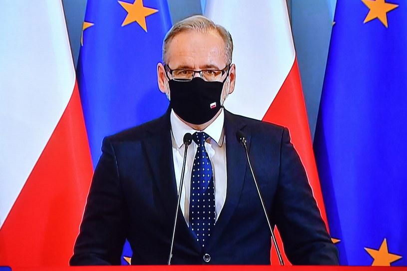 Minister zdrowia Adam Niedzielski podczas konferencji prasowej / Radek Pietruszka   /PAP