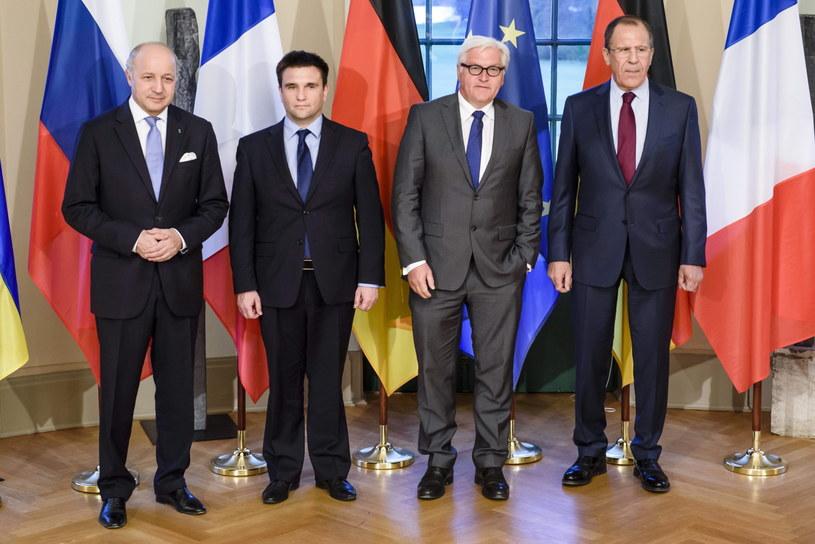 Ministrowie Spraw Zagranicznych: Francji, Laurent Fabius; Ukrainy, Pavlo Klimkin; Niemiec, Frank-Walter Steinmeier i Rosji Sergei Ławrow /CLEMENS BILAN / POOL /PAP/EPA