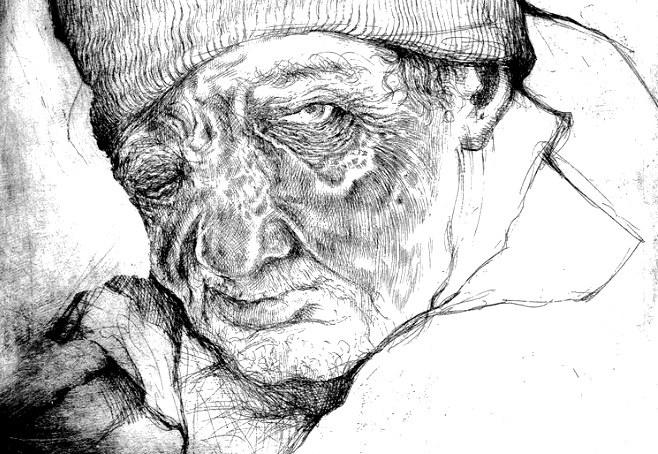 Mirosław, ten z galerii handlowej /Fragment grafiki Jacka Hajnosa /