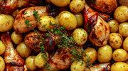 Młode ziemniaki z pieczonym kurczakiem
