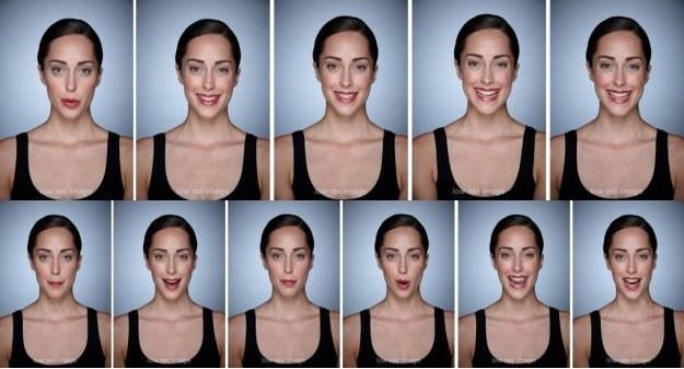 """Modelka wypowiadająca słowo """"ouistiti"""" (u góry) i """"marmolada"""" (na dole)"""