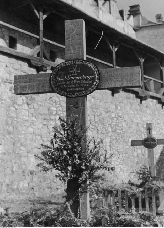 Mogiły żołnierzy niemieckich poległych na zamku w Nowym Sączu w 1939 roku. W tle zamek sądecki. /Z archiwum Narodowego Archiwum Cyfrowego