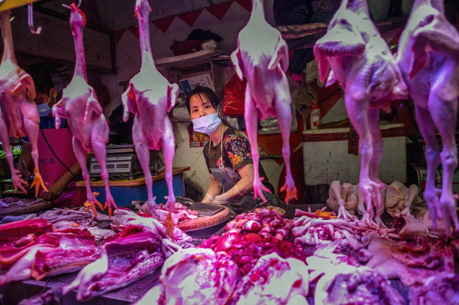 Mokry targ w mieście Guangzhou /ALEX PLAVEVSKI /PAP/EPA