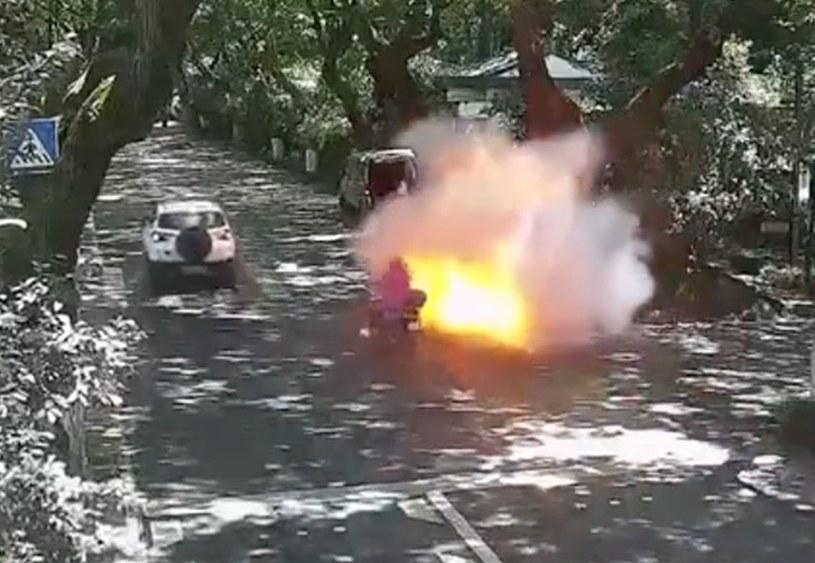 Moment eksplozji zarejestrowany przez monitoring /