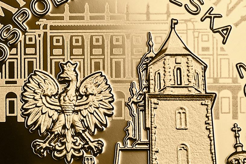 Moneta kolekcjonerska NBP - 10. rocznica tragedii smoleńskiej, 100 zł, detal awersu /NBP