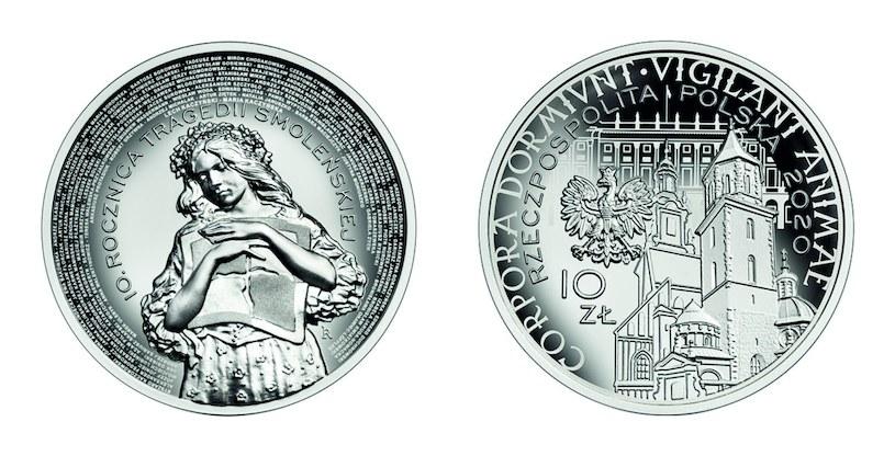 Moneta kolekcjonerska NBP - 10. rocznica tragedii smoleńskiej, 10 zł, rewers (L) i awers (P) /NBP
