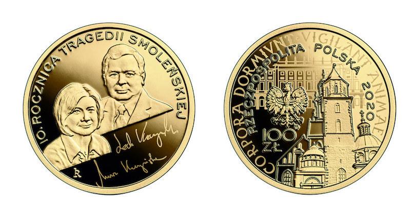Moneta kolekcjonerska NBP - 10. rocznica tragedii smoleńskiej, 100 zł, rewers (L) i awers (P) /NBP