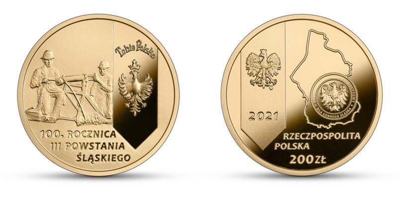 """Moneta kolekcjonerska NBP: """"100. rocznica III Powstania Śląskiego"""" - rewers (L) i awers (P) /NBP"""