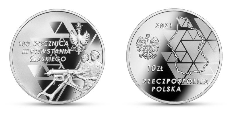 """Moneta kolekcjonerska NBP: """"100. rocznica III Powstania Śląskiego"""" - (rewers (L) i awers (P) /NBP"""