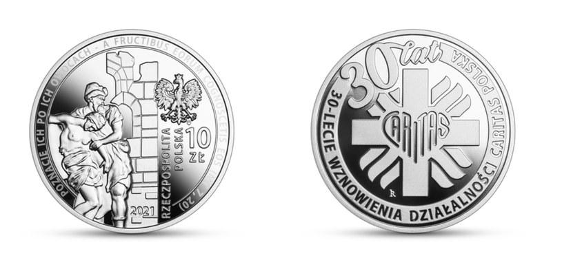 Moneta kolekcjonerska NBP: 30-lecie wznowienia działalności Caritas Polska, 10 zł, awers (L) i rewers (P) /NBP