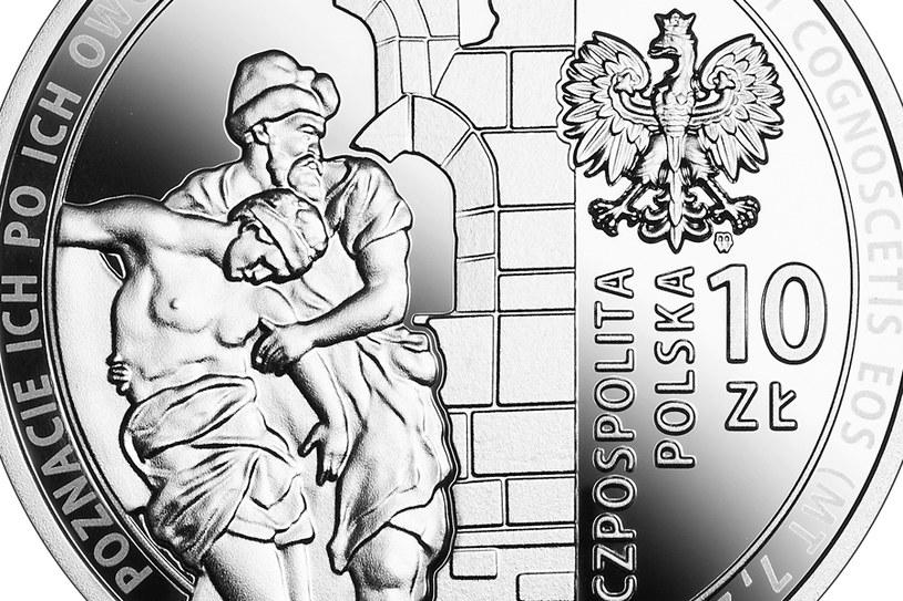 Moneta kolekcjonerska NBP: 30-lecie wznowienia działalności Caritas Polska, 10 zł, detal awersu /NBP