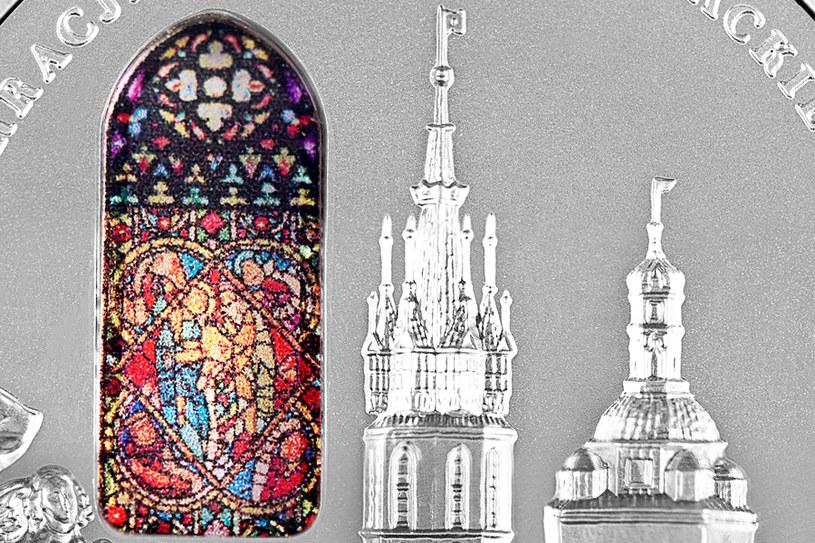 Moneta kolekcjonerska NBP: 700-lecie konsekracji kościoła Mariackiego w Krakowie, 50 zł, detal rewersu /NBP
