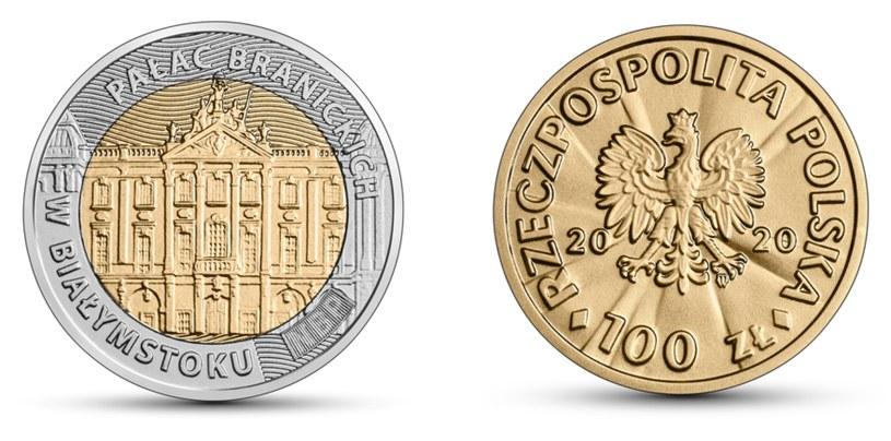 Moneta kolekcjonerska NBP: Odkryj Polskę - Pałac Branickich w Białymstoku, 5 zł, rewers (L) i awers (P) /NBP