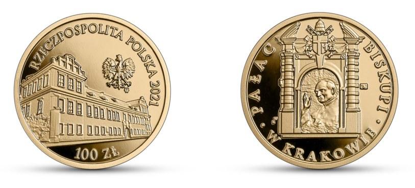 Moneta kolekcjonerska NBP: Pałac Biskupi w Krakowie, 100 zł, awers (L) i rewers (P) /NBP