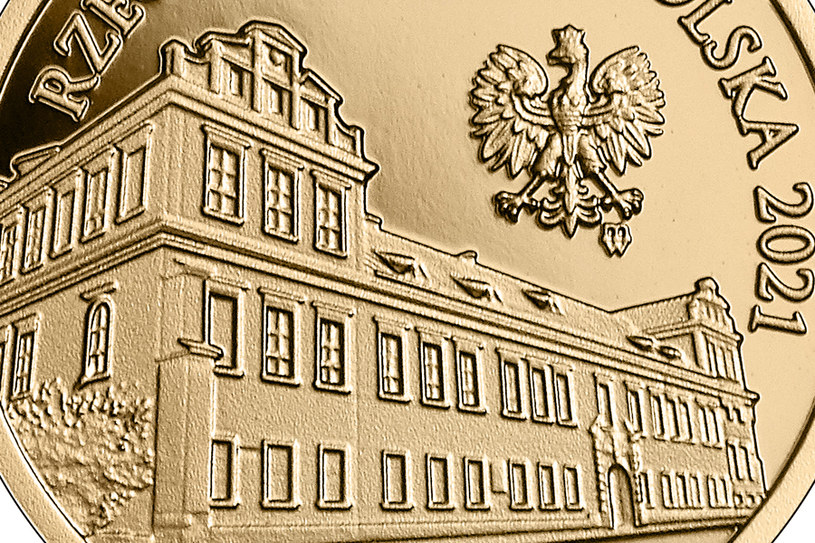 Moneta kolekcjonerska NBP: Pałac Biskupi w Krakowie, 100 zł, detal awersu /NBP