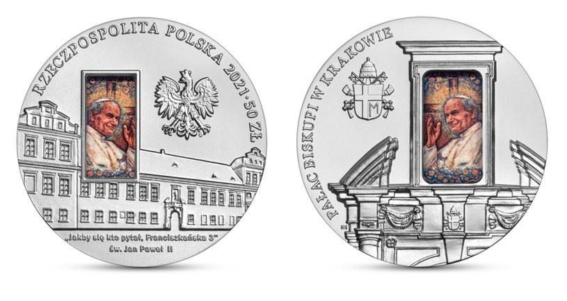 Moneta kolekcjonerska NBP: Pałac Biskupi w Krakowie, 50 zł, awers (L) i rewers (P) /NBP