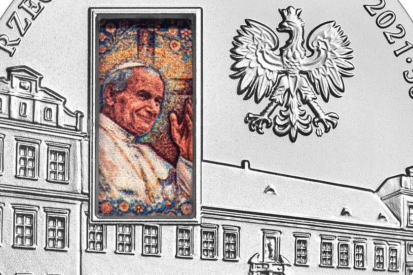Moneta kolekcjonerska NBP: Pałac Biskupi w Krakowie, 50 zł, detal awersu /NBP