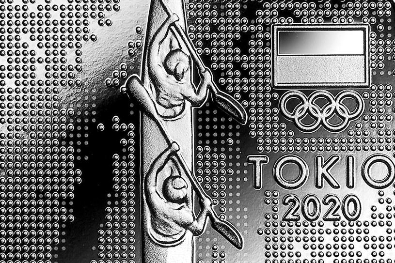 Moneta kolekcjonerska NBP: Polska Reprezentacja Olimpijska Tokio 2020, 10 zł, detal rewersu /NBP