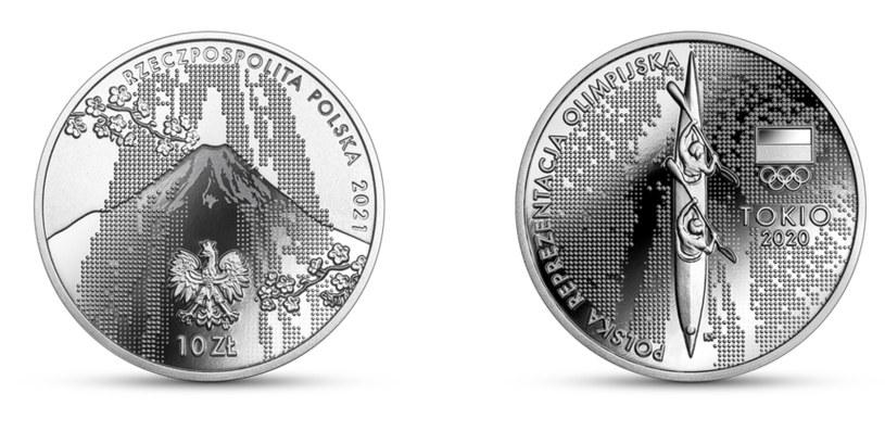 Moneta kolekcjonerska NBP: Polska Reprezentacja Olimpijska Tokio 2020, 10 zł, awers (L) i rewers (P) /NBP
