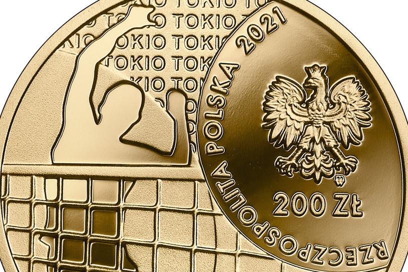 Moneta kolekcjonerska NBP: Polska Reprezentacja Olimpijska Tokio 2020, 200 zł, detal awersu /NBP
