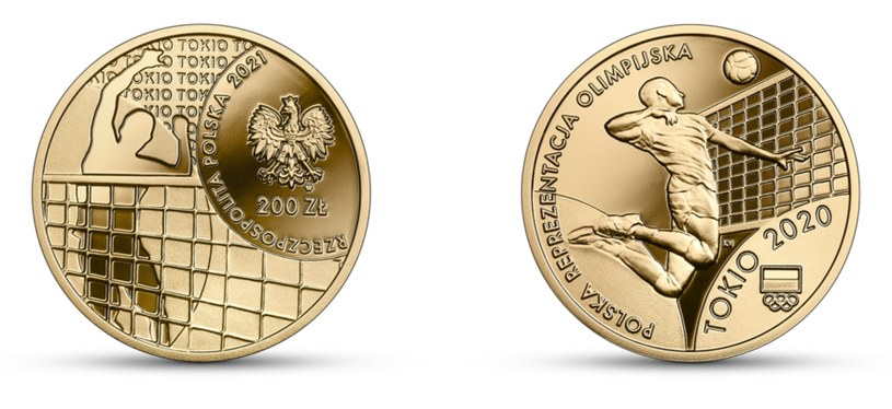 Moneta kolekcjonerska NBP: Polska Reprezentacja Olimpijska Tokio 2020, 200 zł, awers (L) i rewers (P) /NBP