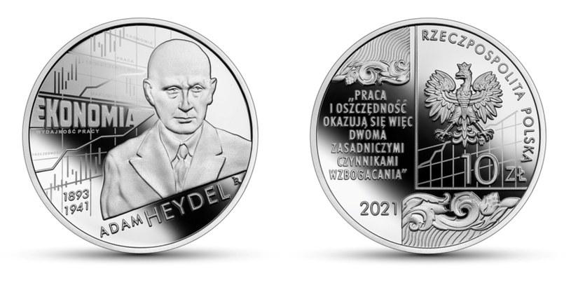 Moneta kolekcjonerska NBP: Wielcy polscy ekonomiści - Adam Heydel, 10 zł, rewers (L) i awers (P) /NBP
