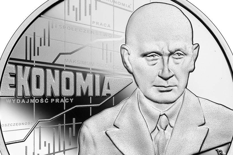 Moneta kolekcjonerska NBP: Wielcy polscy ekonomiści - Adam Heydel, 10 zł, detal rewersu /NBP