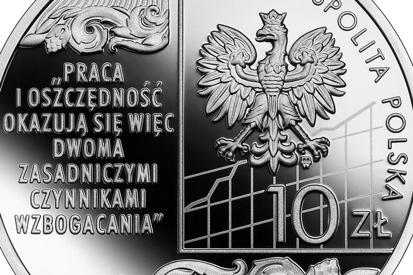 Moneta kolekcjonerska NBP: Wielcy polscy ekonomiści - Adam Heydel, 10 zł, detal awersu /NBP