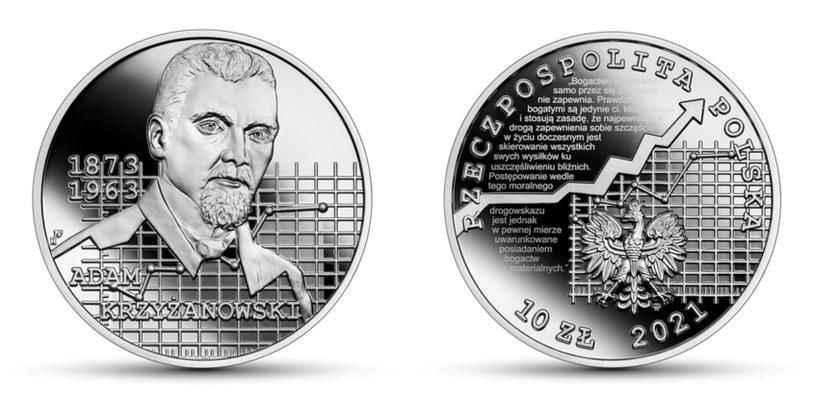 Moneta kolekcjonerska NBP: Wielcy polscy ekonomiści - Adam Krzyżanowski, 10 zł, rewers (L) i awers (P) /NBP