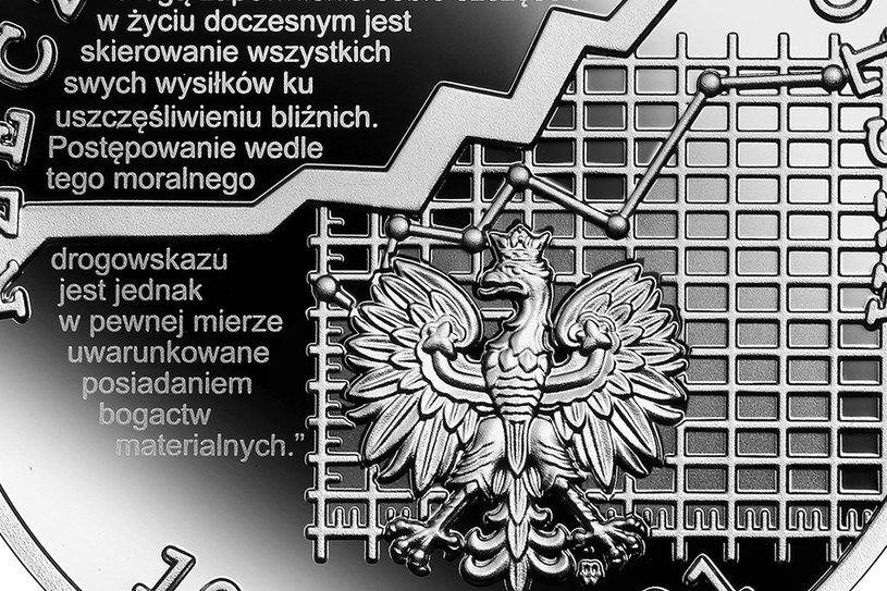 Moneta kolekcjonerska NBP: Wielcy polscy ekonomiści - Adam Krzyżanowski, 10 zł, detal awersu /NBP