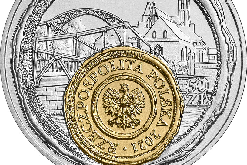 Moneta kolekcjonerska NBP: Wrocław - mała ojczyzna, 10 zł, detal awersu /NBP