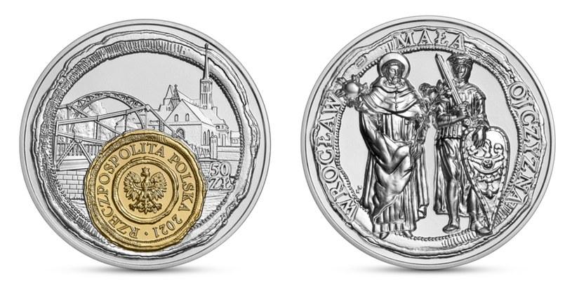 Moneta kolekcjonerska NBP: Wrocław - mała ojczyzna, 50 zł, awers (L) i rewers (P) /NBP