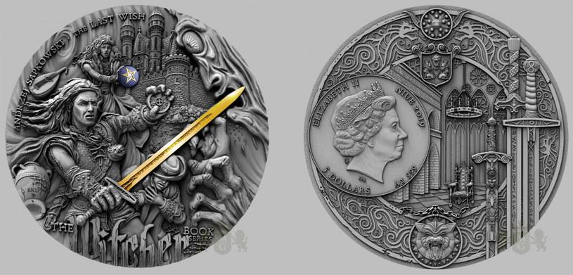 Moneta Mennicy Gdańskiej z serii Wiedźmin: Ostatnie Życzenie o nominale 5 dolarów /Mennica Gdańska /materiały prasowe