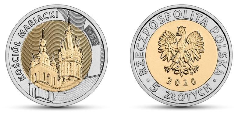 Moneta obiegowa NBP: Odkryj Polskę – Kościół Mariacki, 5 zł, rewers (L) i awers (P) /NBP